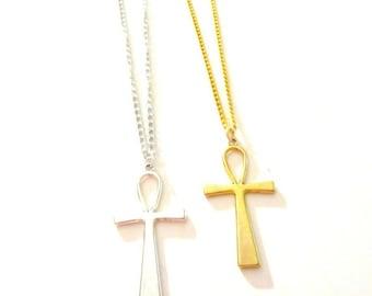 Ankh Necklace. Ankh. Africa Jewelry. Ankh Jewelry. Gold Ankh. Gold Ankh Necklace.