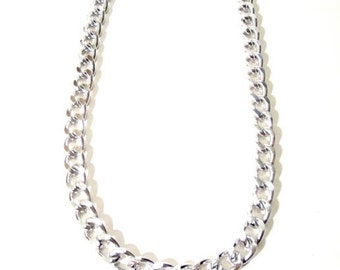 Oversize Chunky Silver Chain Necklace
