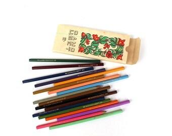 Soviet color pencils 1979 Soviet vintage stationery Soviet school supplies Ussr pencils Russian pencil box Old pencils collectible