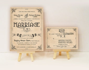 Art Deco Wedding invitations - Gatsby art nouveau Manifesto set {Lafayette design}