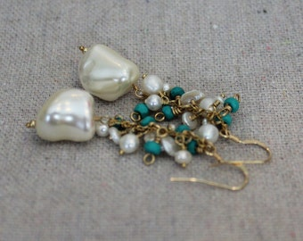Annie Earrings: Large shell pearls with freshwater pearl and turquoise accents on 14kt gold fill