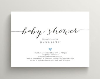 Printable Baby Shower Invitation - Simple and Sweet love heart design, Charcoal & Pink (BA13)