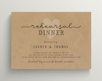 Printable Rehearsal Dinner Invitation \ Wedding \ Kraft Invitation (RD83)