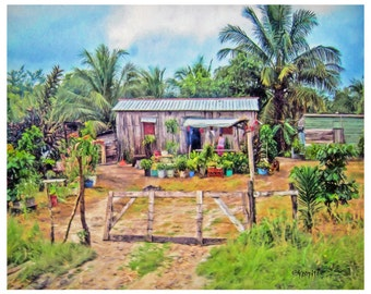 Tropical art, Caribbean House, colorful houses, Belize Flowers 8x10 16x20 Glicee Print - Little Slice of Paradise - Korpita