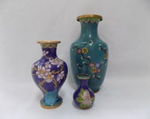 Set of Vintage Chinese Cloisonné Vases - Brass Enamel Hand Crafted Miniature Vase Instant Collection - Blue Sky Cherry Blossom Bird Cloud