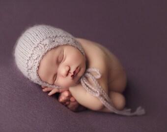 Lillian Newborn Bonnet, Hand Knit Baby Bonnet, Baby Alpaca Bonnet, Newborn Alpaca Bonnet, Newborn Baby Hat, 5 Colors