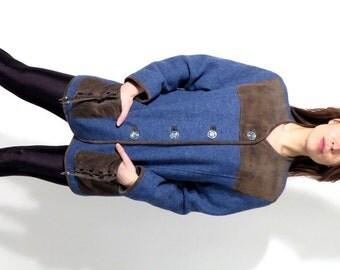 Vintage Sixth Sense Blue Wool And Brown Suede Blazer Size 42