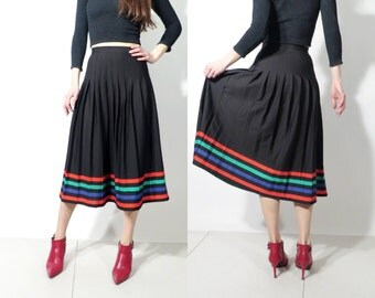 Vintage Black Accordion Striped High Waisted Boho Skirt Size 36