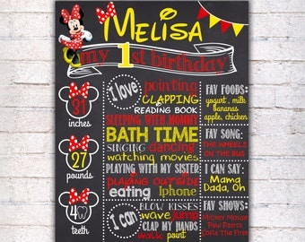 Minnie Mouse First Birthday Chalkboard Sign - Printable 1st Birthday board Poster - Red Girl Chalkboard - Personalized Custom Sign - 093