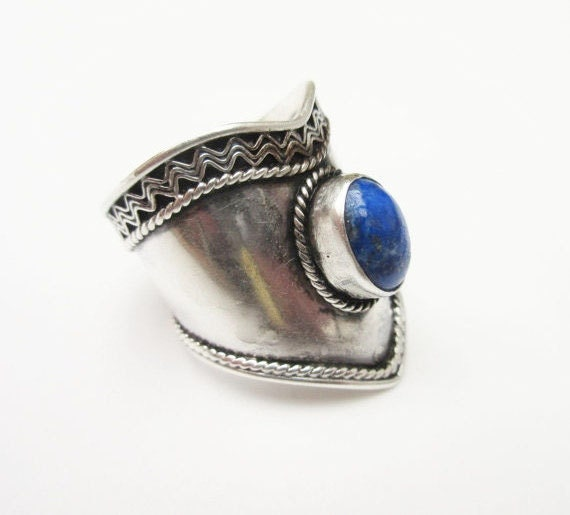 Tribal Blue Lapis Ring Sterling silver size 8 Gemstone