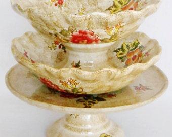 Vintage 3 Piece Tan with Coral Floral Serving Set of Cake Plate, Bowl & Compote, Vintage Floral Serving set, 3 Piece Floral Serving Dishes,