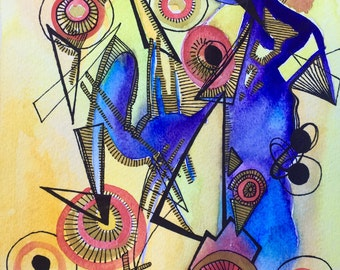 MENTAL GEARS original artwork, watercolor painting, ink drawing, watercolor paper