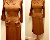 1930s Brown Midi Day Dress Vintage 1940s Bronze Knee Length Wiggle Dress Long Sleeve Cocktail Dress Pencil Dress Holiday Party Dress