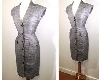 Grey Silk Escada Pencil Dress Vintage 1980s Escada Dress Button Down Midi Wiggle Dress Wool Office Dress Party Dress Small