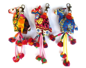 Camel fabric keychain Animal Key Holders Camel Key Fob Animal Purse Charms Accessories Colored cotton fabric wood beads and pompoms