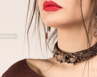 Felt Necklace ,  unusual jewelry,  OOAK ,Textile Jewelry,Felt Wool Jewelry,embroidered choker,Necklace with embroidery,collar