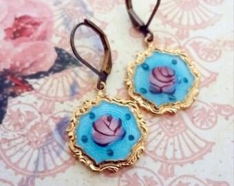 Vintage Guilloche Earrings, Romantic Earrings, Shabby Chic, Mori Girl, Romantic, Marie Antoinette Colors