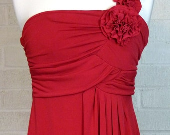 One Shoulder Red Valentine Evening Dress - Size M/S - Red Roses