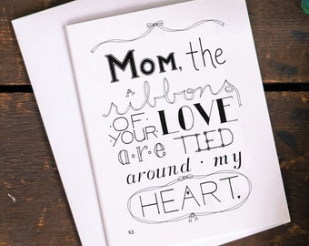 Mother's Day Card, Quote for Mom, Mother's Day Love, Greeting Card, Mom's Day Card, Blank Card