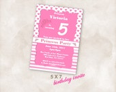 5X7 Birthday party invite Invitation Instant Download Just add your info and print!  Princess fairy tale birthday party