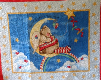 Quilt - Quilted Baby Blanket - Baby Quilt - Gender Neutral Baby Quilt for Boy or Girl - Angel Bear