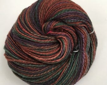 Wintergreen Hand spun Hand dyed chain ply 3 ply BFL