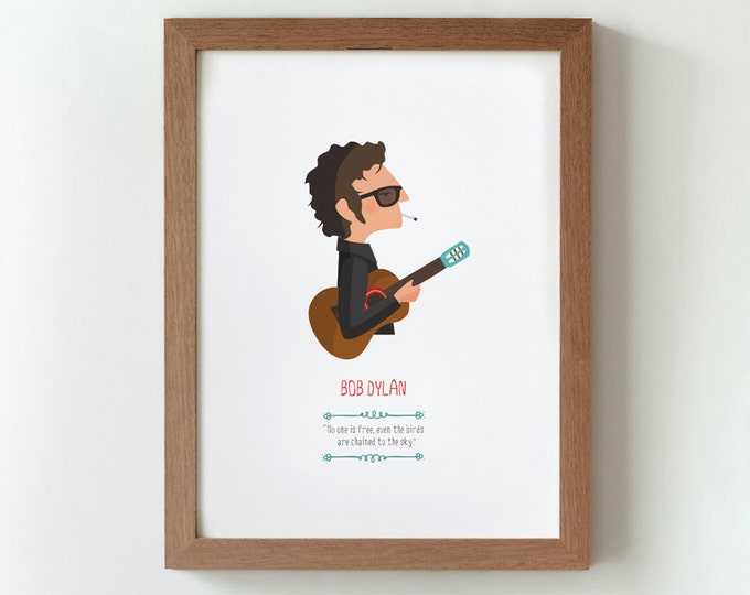 Illustration. Bob Dylan. Print. Wall art. Art decor. Hanging wall. Printed art. Decor home. Gift idea. Bedroom. Sweet home. Tutticonfetti.