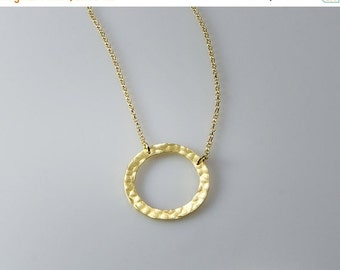VALENTINE SALE 30% OFF Circle- Gold Necklaces Circle Pendant Silver Circle   Hammered circle Pendant Jewelry Handma