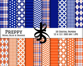 Digital Scrapbook Papers-Royal Blue and Orange-Preppy-Navy Blue-Chevron-Argyle-Plaid-Stripes-Blue and Orange-Instant Download Clip Art