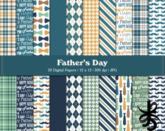 Digital Scrapbook Papers-Fathers Day-Dad-Father-Male-Man-Masculine-Navy Blue-Mustache-Plaid-Backgrounds-Printable-Instant Download Clip Art