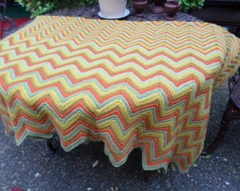 Lovely Fall Colors Handmade Vintage Afghan-Orange/Green/Gold-Blanket/Throw/Bedding/Couch/Car