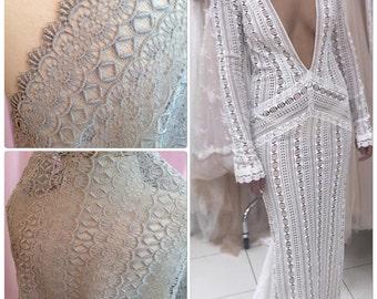 Silver Guipure Lace Fabric, Venise Lace Fabric, Grey Lace, Venise Bridal Lace, Bridal Lace- 38 inches wide (C11)
