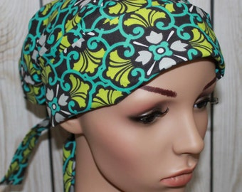 Mosaic in Turquoise,Scrub Hat, Pleated with tie back band,Women's Surgical Scrub Hat