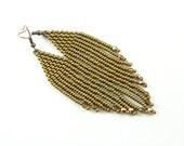 Golden wings - Boho Earrings - Dangle ethnic style beaded earrings - Native american inspired - Beadwork earrings
