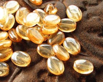 Transparent AB Golden Champagne 12x9mm Flat Oval Glass Beads - 12