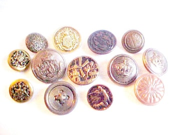 Vintage Button Collection - Mixed Picture Buttons - Brassy Golden Copper Hollow Metal - Assorted Group - Crest - Hunter Windmill - 13 pieces