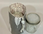 Mason jar carrier bag - Pint single Jars to grey with feathers and woodgrain drawstring bag carrier cozy pouch