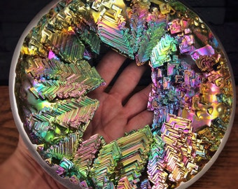 "Bismuth ""Rain Ring"" Giant Bismuth Metal Crystal Ring  by Element83. Metal Art - Science Art"