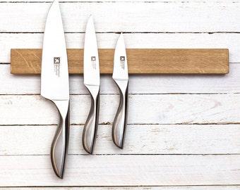 Knife rack, magnetic knife holder, oak knife holder, kitchen wall organizer
