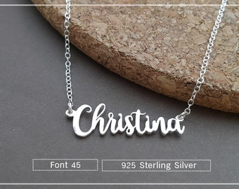 20% OFF // Font 45 //Custom name necklace - Personalized name necklace - Sterling silver- yellow gold- Bridesmaid , mother, Christmas  gift
