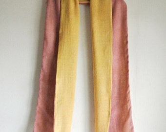 Natural Marigold and Tinggi dyed Wool Linen scarf - a warm gift for someone special