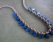 Blue lapis multi heart petite necklace, Vintage and collectable, 1970's, unsigned, Free USA shipping