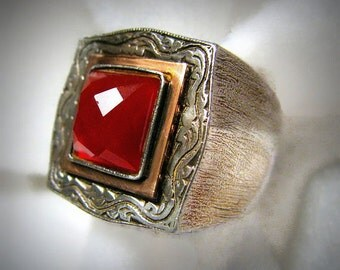Vintage ISRAEL Artisan-Made Ring -- 14k Rose Gold, Sterling Silver and Carnelian, Size 8