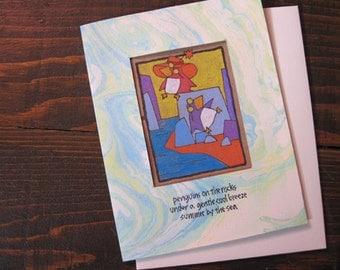 Penguins on the Rocks -- ORIGINAL hand-drawn card, blank inside, haiku, suminagashi (#NCC036)
