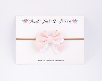 Pale Pink Ladylike Bow with White Crochet Trim