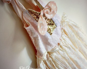 Vintage pageant or flower girl dress for toddlers, girls, baby ballet style with lace PINK