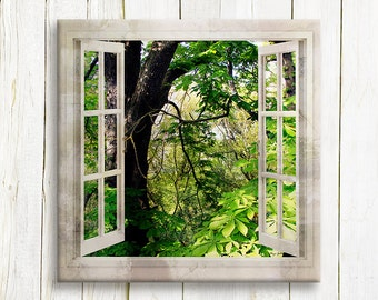 Green forest window view art printed on canvas - housewarming gift