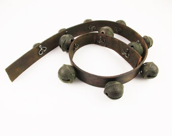 Eleven 'Petal' or 'Horseshoe' Sleigh Bells on a Leather Strap - Vintage Brass - Fun - Horses - Carts - Collectible