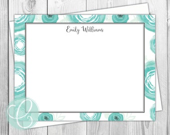 Watercolor Stationery - Teal Watercolor Flowers - Personalized Flat Note Cards - Set of 12