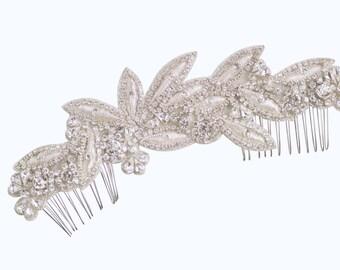 Bridal Headpiece Wedding Hair Comb, Silver  Leaf Crystal Beaded Metallic Embroidered Applique Rhinestone Trim, Camilla Christine HYACINTHE